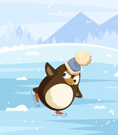 Penguin wearing warm hat figure skating outdoors. Winter activities and landscape with mountains and trees in distance. Animal on ice rink special boots holding balance. Balancing bird greeting card Vectores