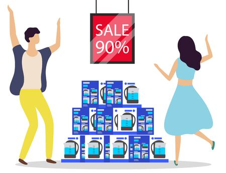 Happy clients of electronics. Man and woman dancing by kettle variety at store. Teapot in boxes on sale, discount 90 percent off price. Couple buying electric appliance for kitchen with offer vector