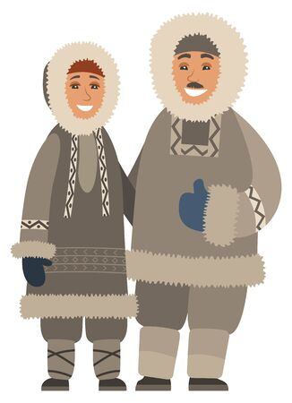 Man and woman living in north smiling. Isolated couple wearing warm clothes, jackets with fur and heavy hoods. Female and male at wintertime standing outdoors. Vector in flat style illustration Illustration