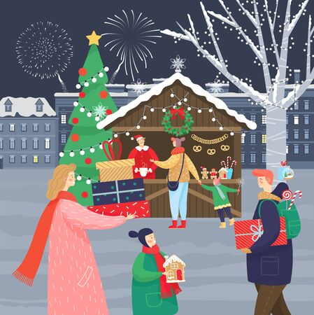 Celebration of Christmas holidays on xmas market. People carrying presents and buying souvenirs at kiosks. Cityscape with modern architecture and fireworks at sky. Woman and man with kid vector