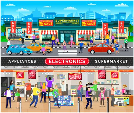 People buying appliances and devices in electronics. Supermarket exterior and interior with clients holding new items. Tv sets and gadgets on sale. Discounts special reductions. Vector in flat