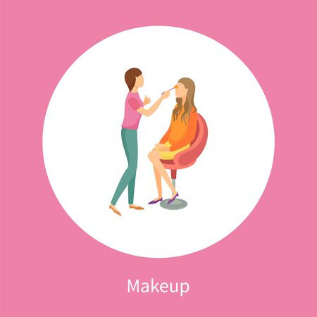 Makeup poster stylist making fashion glamor maquillage to client in chair vector in circle. Professional make up studio leaflet, cosmetologist office Çizim