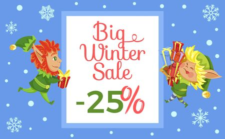 Big winter sale, promotional banner with elves and calligraphic inscription. Dwarf with gifts. Snowfall and snowflake ornaments. Discounts and reduction of price for shops and stores, vector in flat 向量圖像