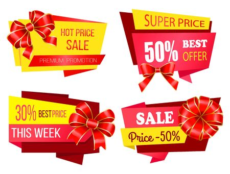 Set of promotional banners with ribbon bows. Isolated premium promotion, 30 percent reduction at store. Proposals and sales at market. Half cost lowering on goods and products. Vector in flat