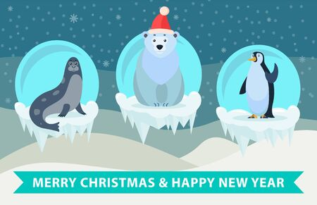 Merry Christmas and happy new year greeting card with animals. Polar bear wearing santa claus hat and penguin, seal sitting on ice floe. Snowfall and winter landscape on background, vector in flat 向量圖像