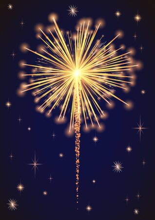 Firework sparkling with lights, fireworks on night or evening sky. Explosion for festival, festive moods. New Year celebration holidays. Bright and shiny decoration. Vector sparkle and glittering ray Illustration