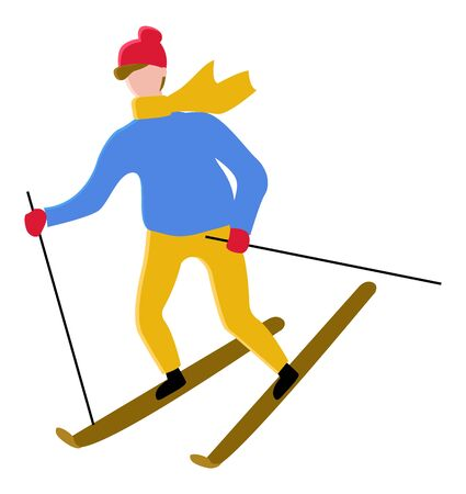 Person wearing warm clothes skiing outdoors. Man leading active lifestyle. Hobby of male, winter sports and leisure on vacation. Recreation of sportsman. Personage in hat and gloves vector in flat