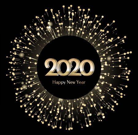 Banner de año nuevo 2020 con fuegos artificiales. Forma de círculo de tarjeta de felicitación con luces iluminadas y brillos. Decoración festiva para navidad. Felicitaciones de vacaciones de invierno. Vector en estilo plano