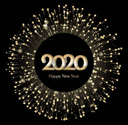 New Year 2020 banner with fireworks. Circle shape of greeting card with illuminated lights and brights. Festive decoration for christmas. Winter holidays congratulations. Vector in flat style