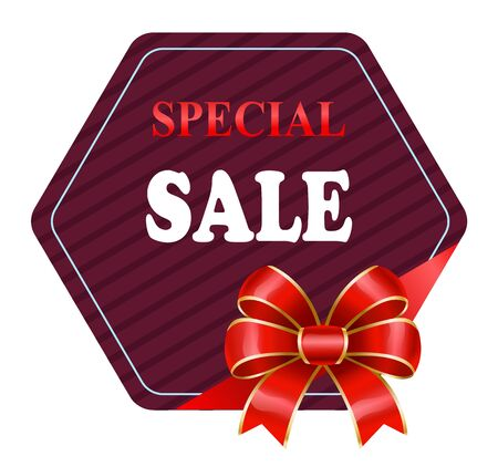 Special sale and propositions from shops. Isolated promotional banner with red decorative ribbon bow. Hexagonal shape of discount label. Clearance and reduction of price at stores. Vector in flat