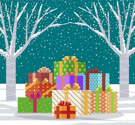 Winter landscape and presents for Christmas celebration. Forest with snowfall and trees decorated with garlands. Xmas and new year holidays gifts. Pile of boxes with ribbon bows vector in flat
