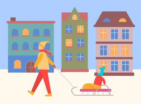 People walking in winter city at night vector. Mother and child sitting on sleigh passing homes with light in windows. Female character with kid on sledges, wintertime strolling in town flat style Illusztráció