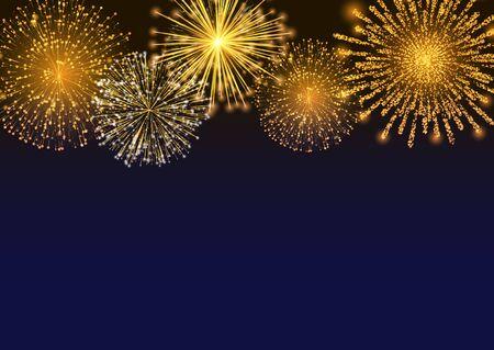 Feuerwerk mit Lichtern, Feuerwerk am Nacht- oder Abendhimmel. Explosion für Festival, festliche Stimmungen. Neujahrsfeiertage. Helle und glänzende Dekoration. Vektorfunkeln und glitzernder Strahl Vektorgrafik