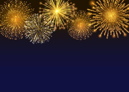 Firework sparkling with lights, fireworks on night or evening sky. Explosion for festival, festive moods. New Year celebration holidays. Bright and shiny decoration. Vector sparkle and glittering ray Ilustração Vetorial