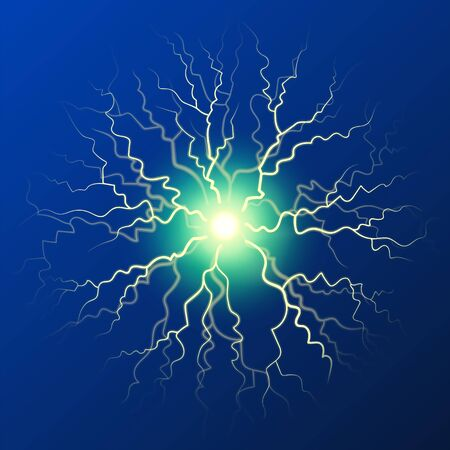 Lightning concentrated in one point. Thunderbolt effect isolated n blue. Shining bright bolt, abstract decoration. Powerful energy of thunder. Sparkling energetic flash. Vector in flat style