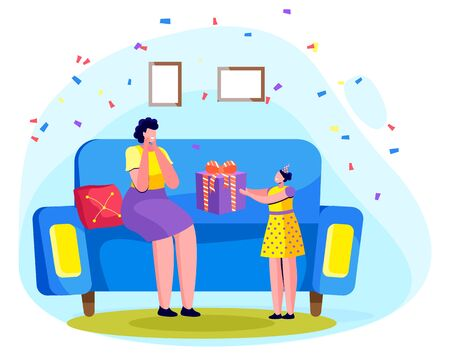 Family celebration at home. Daughter congratulates mother with birthday. Kiddo holding present with ribbon bow in hands. Woman sitting on sofa surprised by gift of her child. Vector in flat style Ilustração