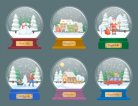 Snow globes set, isolated toys made of glass sphere and wooden pedestal. Snowing landscape with characters inside. Bauble with santa claus and family, car with pine and house in town flat style vector