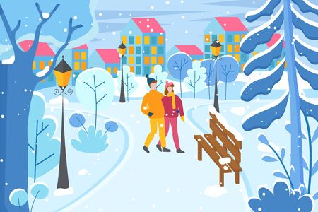 Pair of people walking in evening in winter park. Lovely couple holding hands strolling together. Man and woman in city. Cityscape with homes lit with lights. Street with lanterns and trees vector