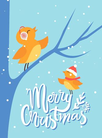 Merry christmas greeting card with birds chirping. Bullfinch sitting on bare tree branch. Birdies wearing earmuffs and Santa Claus hat. Celebration of winter holidays in forest by animals vector