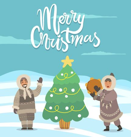 Merry Christmas greeting card with calligraphic inscription and people gathered by pine tree with star and baubles. Spruce with garlands and personage with musical instrument dancing by it vector