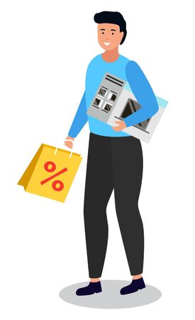 Character on shopping. Isolated female personage holding purchased items in hands. Microwave oven and bag with percent. Clearance and proposition from store and shops. Lady with goods vector