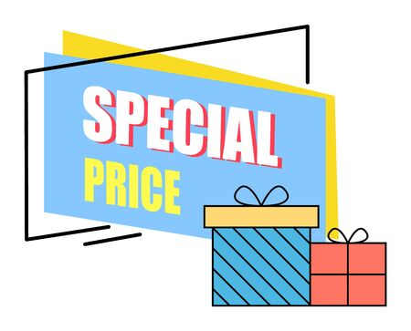 Special price from shop vector, isolated promotional banner with presents. Shopping discounts and sale for clients of store. Gifts with decorative wrapping paper for holidays. Clearance and offer