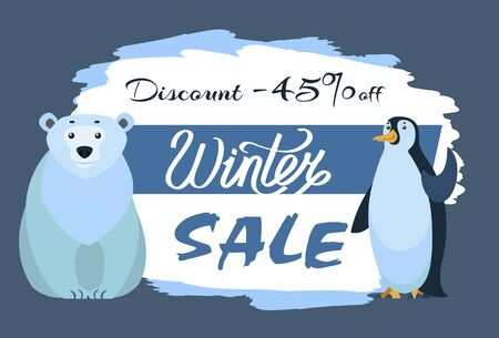 Winter sale in shops and stores. Polar bear and emperor penguin, cartoon characters. Promotion banner with designed caption and animals. Arctic mammal and antarctic bird. Vector illustration in flat
