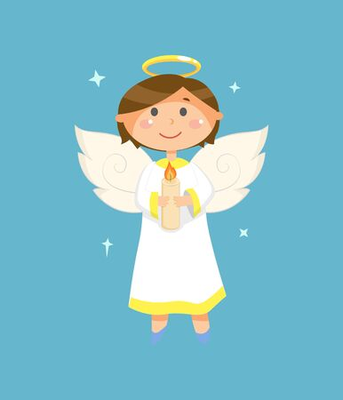Christmas and Valentines Day character, angel with halo and wings holding candle vector. Heaven creature, boy or child in white robe, holy spirit Ilustracja