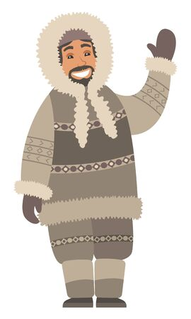 Eskimo man stand alone and wave hand. Indigenous north guy with smile on face and in warm clothes like coat and gloves, boots and hood. Arctic person isolated on white. Vector illustration in flat