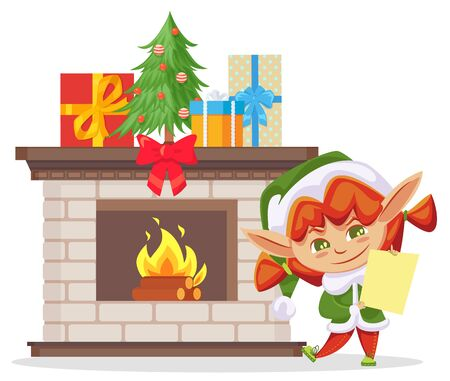 Elf holding letter and smiling. Small girl standing by fireplace at home. Assistant of Santa claus and presents in boxes decorated with stripes and bows. Pine tree toy decoration vector in flat Illustration