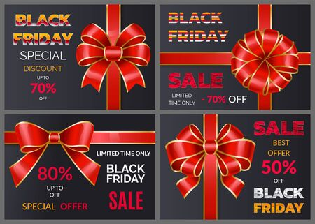 Set of promotional posters for black friday discounts announcement. 50 and 80 percent off price. Reduction in cost for shoppers in store and markets. Decorative ribbon bow on banners. Vector in flat Illustration