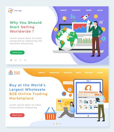 B2B online trading platform vector, why you should start selling worldwide. Marketplace for sellers and buyers, online shopping and communication. Website or webpage template, landing page flat style 版權商用圖片 - 134368024