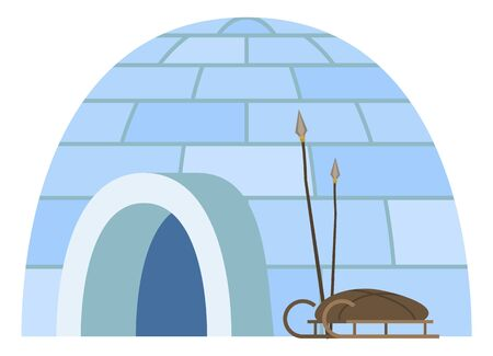 Igloo house made of cubes of ice. Isolated dwelling of arctic or polar people. Place to live for inuits. Sledges and spire for hunting and transportation. Shelter for eskimos, exterior vector in flat