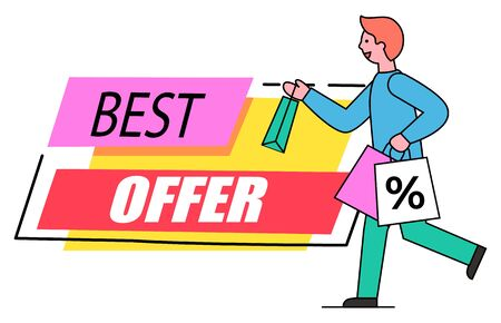 Best offer promotional banner vector, isolated label made of stripes and text. Male character carrying bags with percent symbol. Consumerism and special proposals from shops and stores flat style