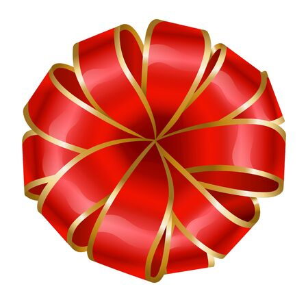 Ribbon bow in red and golden colors. Silk tape made in rounded shape. Isolated icon for present boxes and gifts decoration. Banners and cards embellishment. Vector in flat style illustration