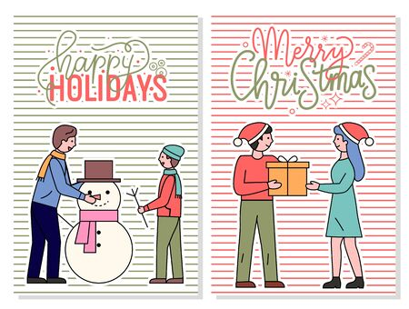 Merry christmas and happy holidays postcard vector. People exchanging presents on winter events. Dad and son sculpting snowman outdoors. Xmas and traditions of gift giving, wintertime flat style