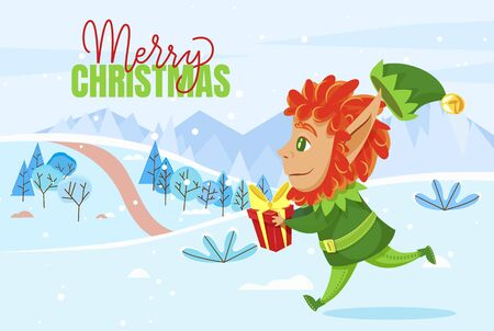 Merry christmas and happy new year, greeting postcard. Elf running across lawn with box in hands. Fairy character in green costume carry package with gift inside. Vector illustration in flat style