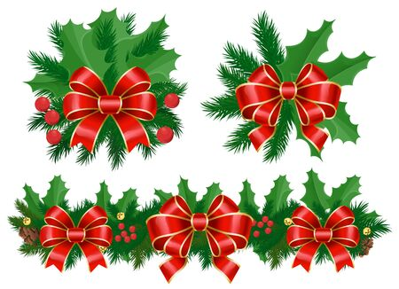 Set of decoration for christmas. Isolated floral composition of mistletoe and pine tree branch. Cone and berries with ribbon bow. Swirl stripe and traditional xmas evergreen foliage. Vector in flat