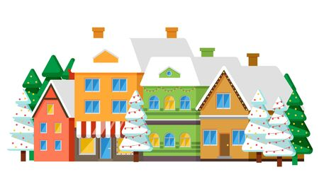Winter street with houses placed in row, isolated set of homes with lights in window. Roofs of buildings covered with snow. Estate of citizens with pine tree growing by chalet. Vector in flat style