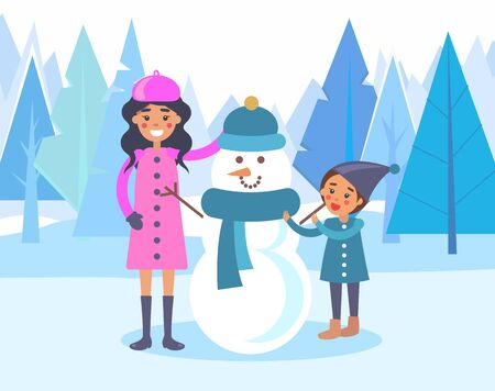 Smiling mom and kid building snowman. Sculpture made of snowballs dressed in hat and knitted scarf. Family at weekends spending time outdoors. Woman and child outside. Landscape with trees vector