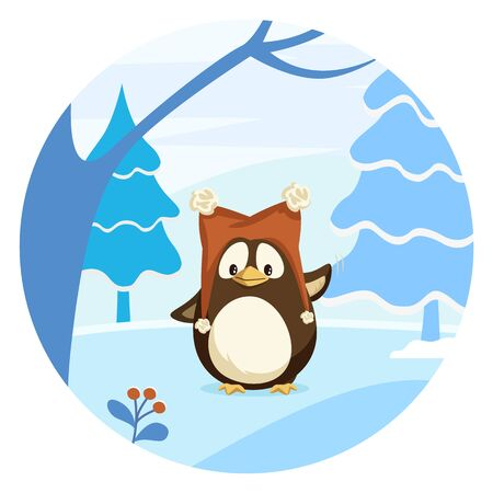 Cartoon penguin in funny hat. Fir and oak trees in wood or lawn. Circle with forest plants and animal inside. Winter cold and snowy weather in antarctica. Vector cartoon illustration in flat style Illusztráció