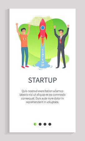 People in process of startup vector, organization employees in field of creating business project, successful businessmen launch innovative rocket. Website or app slider, landing page flat style