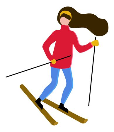 Brunette character skiing outdoors. Isolated character with long hair wearing warm clothes leading active lifestyle. Leisure of girl, extreme hobby of lady with band in head. Vector in flat style