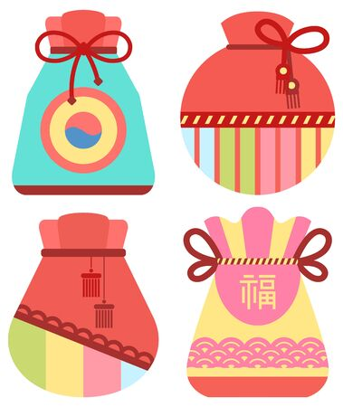Traditional chinese fortune bag vector, isolated fabric cloth with thread stuffed with symbols of prosperity. Chinese lucky bag. Holiday in China and celebration special occasions, oriental traditions Ilustração