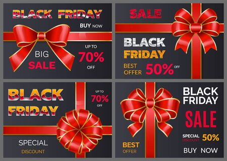 Black friday discounts set and sale for autumn event. Percent off price, buy now. Promotional poster with decorative ribbon bow. Reduction of cost for shoppers in all shops and stores, vector on black Illustration