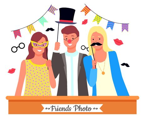 Group of friends posing with photo booth props. Paper glasses, cylinder hat, red clown nose and other party accessories and decoration. Teenage boy and girls in funny costumes vector illustration