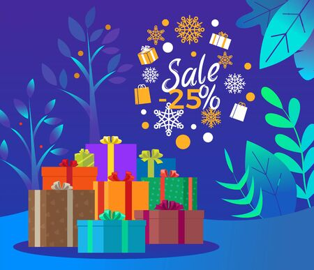 Christmas sale 25 percent reduction off price vector. Promotional poster with snowflakes and presents. Banner with winter landscape, trees and foliage. Xmas shopping using discounts and offers