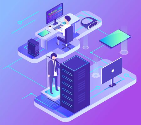 Worker communication with computer, wireless device, data center, element of PC support. Male character with laptop in office. Web service, business technology, 3d view of supercomputer vector