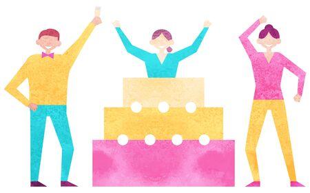 Vector de gente de fiesta, amigos aislados saludando con feliz cumpleaños. Fiesta sorpresa, mujer saltando de pastel, hombre sujetando una copa con champán Ilustración de vector