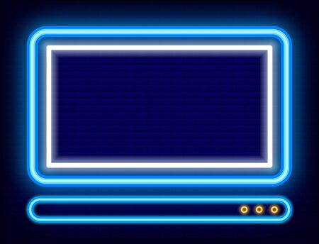 Neon icon of laptop with empty screen vector. Isolated personal computer on brick background. Device for work and studies. Website and online access to sites. PC sign with glowing effect illustration